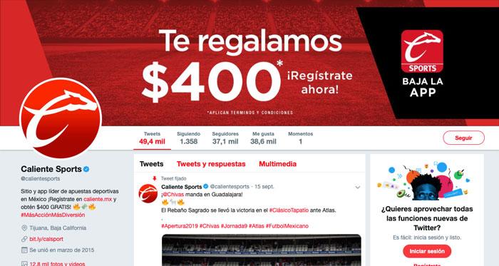 Apuestas Caliente Mexico Bono Bienvenida Redes Sociales