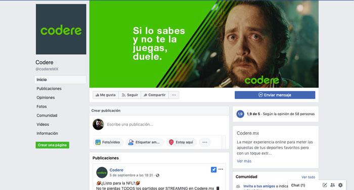 Facebook codere México redes sociales
