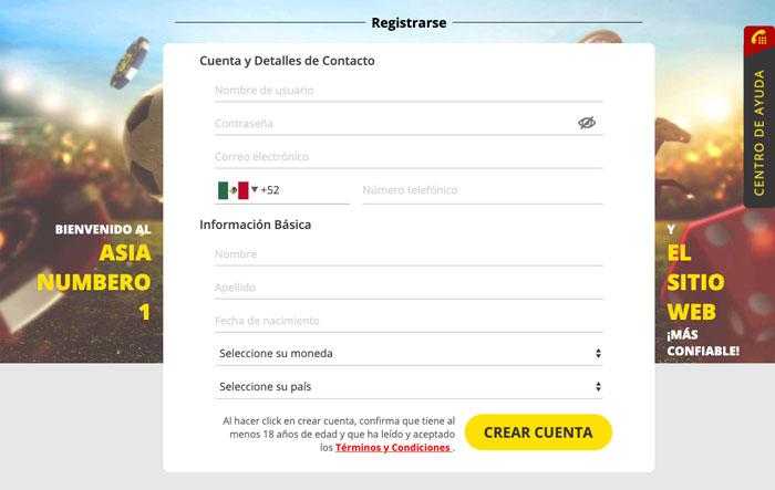 Dafabet México formulario de registro