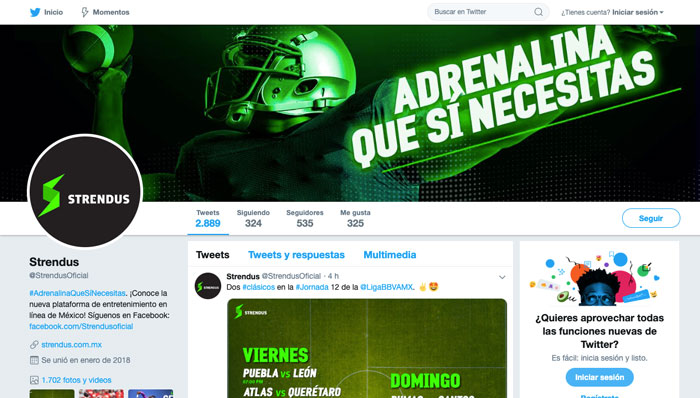 Twitter Strendus México redes sociales