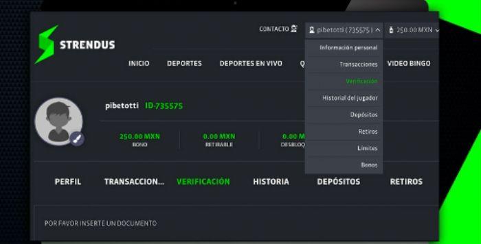 Apuestas Strendus Mexico Bono Verificación Inicio de Sesión