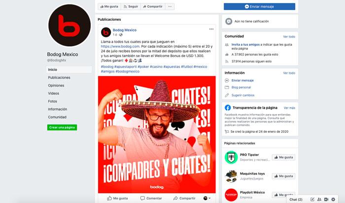 Apuestas Bodog Mexico Bono Redes Sociales Facebook