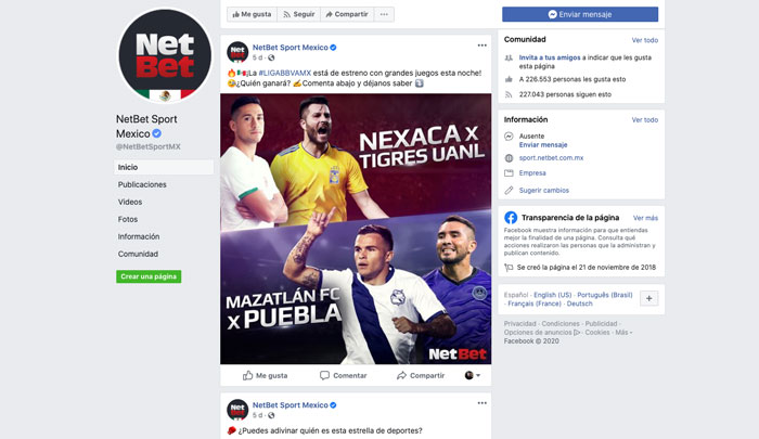 Apuestas NetBet Mexico Bono Facebook Redes Sociales