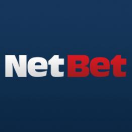 Netbet logo blanco y rojo en fondo morado