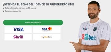 Cómo depositar en 22bet México jugador logos