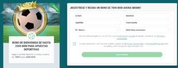 22bet México formulario de registro balón corona