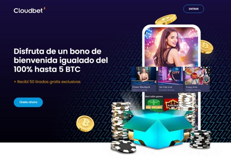 Bono de bienvenida Cloudbet casino