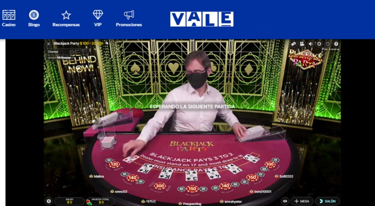 Slider 1 Casino en vivo Vale MX Blackjack