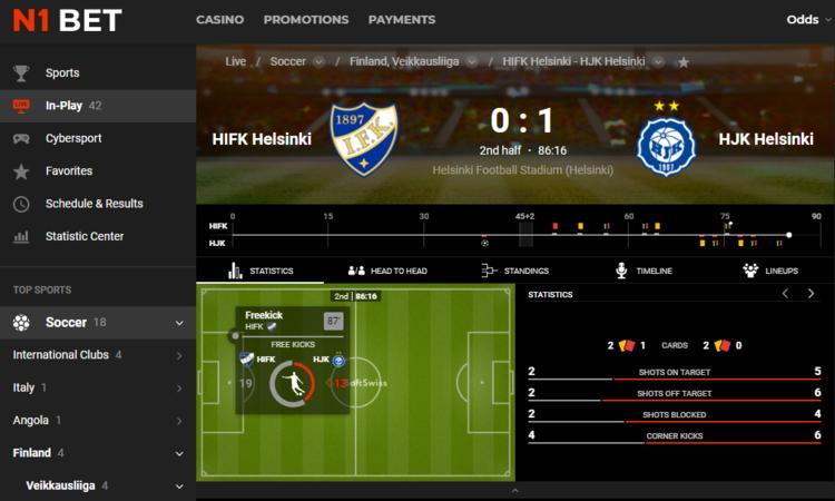 Futbol en vivo en N1Bet