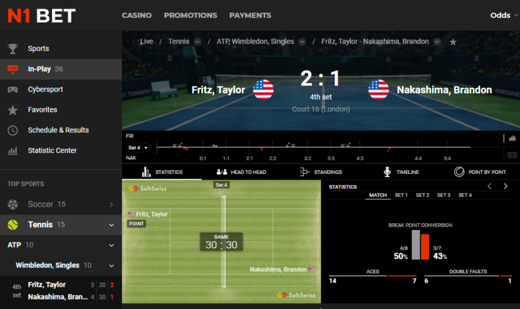 Partido de tenis en vivo N1Bet