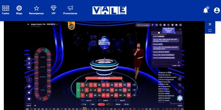 slider 2 ruleta en vivo en Vale MX