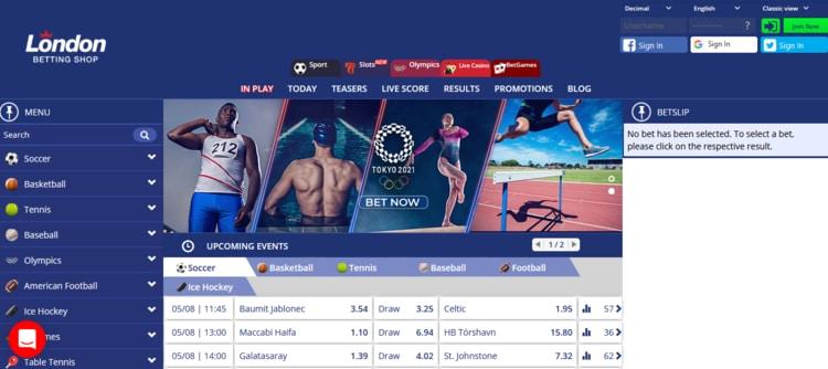 Así luce la plataforma de London Betting Shop México